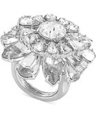 Carolee Silvertone Crystal Flower Statement Ring - Lyst