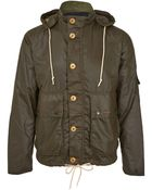 Barbour Olive Overhand Hooded Wax Jacket - Lyst