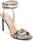 Diane von Furstenberg Vera Snake-Embossed Sandals - Lyst