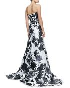 Carolina Herrera Strapless Belted Roseprint Ball Gown - Lyst