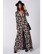 Missguided Effie Button Down Maxi Dress Floral - Lyst
