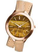 Michael Kors Midsize Tan Leather Runway Threehand Watch - Lyst