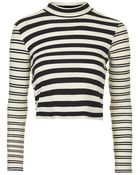 Topshop Long Sleeve Ribbed Funnel Neck Top - Lyst