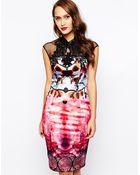 Forever Unique Floral Print Pencil Dress with Lace Neck - Lyst
