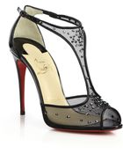 Christian Louboutin Patinana Swarovski Crystal Mesh T-Strap Sandals - Lyst