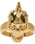 Alexander McQueen Gold Spiked Skull Ring - Lyst