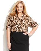 Calvin Klein Plus Size Three-quarter-sleeve Animal-print Blouse - Lyst