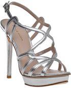 Pelle Moda Flirty Evening Sandal Silver Leather - Lyst