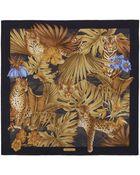 Ferragamo Tiger & Jungle Print Scarf - Lyst
