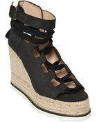 Castaner 110Mm Nubuck Lace-Up Wedge Sandals - Lyst