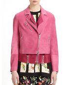 3.1 Phillip Lim Nubuck Leather Layered Biker Jacket - Lyst