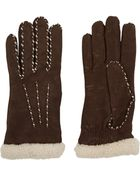 Agnelle Cashmere-Lined Leather Gloves - Lyst