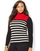 Lauren by Ralph Lauren Plus Striped Turtleneck Sweater - Lyst