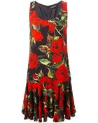 Dolce & Gabbana Rose-Print Dropped Waist Dress - Lyst