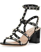 Valentino Rockstud Patent Cage Sandal - Lyst