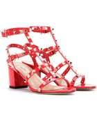 Valentino Rockstud Patent Leather Sandals - Lyst