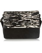 Isabel Marant Loxley Suede And Printed Calf Hair Shoulder Bag - Lyst