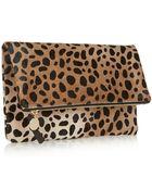 Clare V. Leopard-Print Calf Hair Clutch - Lyst