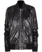 Rick Owens Flight Bomber Leather Jacket - Lyst