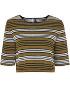 Topshop Compact Stripe Top - Lyst