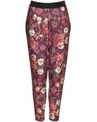 Topshop Tile Floral Jersey Tapered Trousers - Lyst
