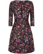 Oscar de la Renta Painted Rose Print Mikado Dress - Lyst