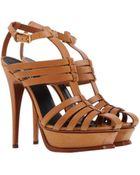 Yves Saint Laurent Rive Gauche High-Heel Leather Platform Sandals - Lyst