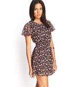 Forever 21 Floral Flutter Sleeve Dress - Lyst