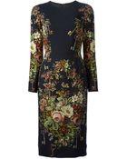 Dolce & Gabbana Keys Floral Print Dress - Lyst