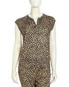 Rebecca Taylor Cap-Sleeve Leopard-Print Top - Lyst