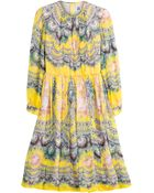 MSGM Baroque Print Silk Midi-Dress - Lyst