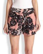 Rebecca Taylor Flower-Print Silk Shorts - Lyst