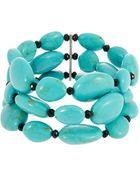 Lauren by Ralph Lauren Turquoise Three Row Bracelet - Lyst