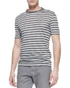 Vince Striped Linen-Knit Tee - Lyst