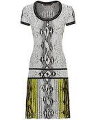Roberto Cavalli Pleated Jacquard Snake Dress - Lyst