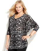 Inc International Concepts Plus Size Animal-Print Zip-Shoulder Sweater - Lyst