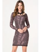 Bebe Jacquard Long Sleeve Dress - Lyst