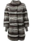 Liska Striped Coat - Lyst