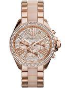 Michael Kors Wren Rose Golden Stainless Steel Pave Watch - Lyst