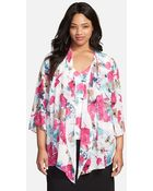 Alex Evenings Floral Print Tank With Cascade Ruffle Jacket - Lyst