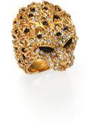 Saint Laurent Lion Head Crystal & Enamel Ring - Lyst