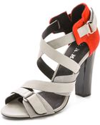L.A.M.B. Korry Haircalf Sandals - Grey - Lyst