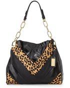 Badgley Mischka Valentina Leopard-Print Calf Hair Shoulder Bag - Lyst