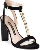 French Connection Melvyn T-Strap Jewel Dress Sandals - Lyst
