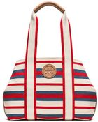 Tory Burch Printed Canvas Small Tote - Lyst