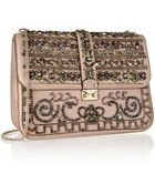 Valentino Crystal-embellished Leather Shoulder Bag - Lyst