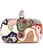 Alexander McQueen Embroidered Patchwork Box Clutch - Lyst