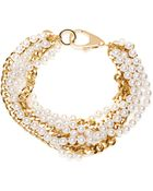 Fallon Faux Pearl And Gold-Plated Chain Necklace - Lyst