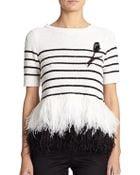 Oscar de la Renta Striped Sequin & Ostrich Feather Top - Lyst
