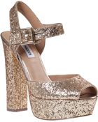 Steve Madden Jillyy Platform Sandal Gold Glitter - Lyst
